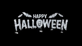 Happy Halloween Blinking Text Wishes Particles Greetings, Invitation, Celebration Background