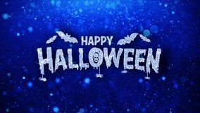 Happy halloween blue text wishes particles greetings, invitation, celebration background
