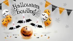 Happy Halloween Bowling pin and ball Poster Design Vector Illustration Grey background. royalty free illustration