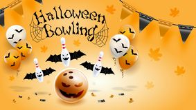 Happy Halloween Bowling pin and ball Poster Design Vector Illustration Orange background. vector illustration