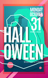 Happy Halloween bright neon color poster with text Royalty Free Stock Photos
