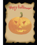 Happy halloween. Burnt paper with the words Happy Halloween and pumpkins Stock Images