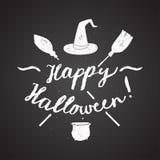 Happy halloween calligraphy. Hat pot broom. chalk on board Royalty Free Stock Photo
