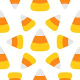 Happy Halloween. Candy corn big. Seamless Pattern. Wrapping paper, textile template. Print template. Flat design. White background. Happy Halloween. Candy corn Stock Photography