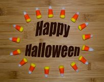 Happy Halloween with candy corn Stock Images