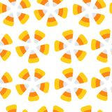 Happy Halloween. Candy corn. Seamless Pattern. Round flower shape. Wrapping paper, textile template. Print template. Flat design. Stock Image