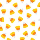 Happy Halloween. Candy corn. Seamless Pattern. Wrapping paper, textile template. Print template. Flat design. White background. Stock Photos