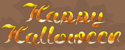 Happy Halloween candy corn text. Hand drawn text illustration. Top outlines, yellow section, white sections and main shading are all on separate layers vector illustration