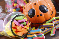Happy Halloween Candy in Glass Apothecary Jars Royalty Free Stock Photo