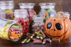 Happy Halloween Candy in Glass Apothecary Jars Stock Photos