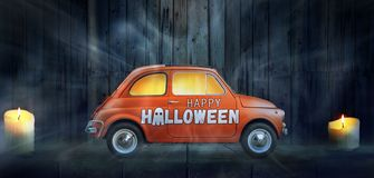 Happy Halloween Car Stock Photography