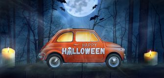 Happy Halloween car. Against night scary autumn forest background stock photo