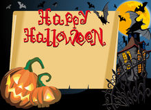 Happy halloween card. Pumpkin Halloween Card with empty blank scroll and Text Stock Illustration