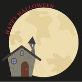 Happy halloween card. Illustration of hunted house with moon on background. Vector. Ai available Stock Photos