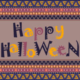 Happy Halloween card with African ornament design Stock Photos