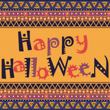 Happy Halloween card with African ornament design Royalty Free Stock Image