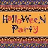 Happy Halloween card with African ornament design Stock Photography