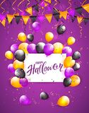 Happy Halloween on card with balloons and confetti on violet bac. White card with lettering Happy Halloween on violet background with multicolored balloons Stock Photo