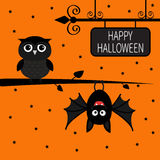 Happy Halloween card. Bat hanging on tree. Wrought iron sign board. Owl bird.  Stock Photos