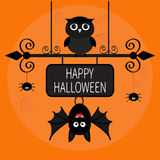 Happy Halloween card. Bat hanging on wrought iron sign board. Owl bird, spider dash line web. Royalty Free Stock Photo