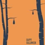 Happy halloween card with bats sleeping on trees Stock Photo