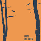 Happy halloween card. Birch trees and bats Royalty Free Stock Images