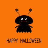 Happy Halloween card. Black silhouette girl monster with eyes, star horns. Funny Cute cartoon character. Baby collection. Flat des Royalty Free Stock Image