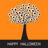 Happy Halloween card. Black tree silhouette Branch with eyes. Cartoon eyeball. Spooky apple of eye set. Baby illustration collecti Stock Photos