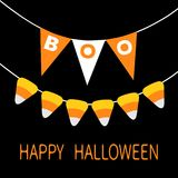 Happy Halloween card. Candy corn. Bunting flags pack Boo letters. Flag garland. Party decoration element. Hanging text on rope thr. Ead. Black white triangle set Royalty Free Stock Image