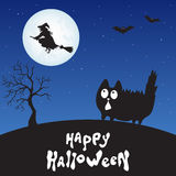 Happy Halloween card with  cartoon  cat,  witch and moon. Royalty Free Stock Photo