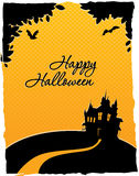 Happy halloween card with castle Royalty Free Stock Photography