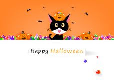 Happy Halloween card, cat and sweet candy with cute pumpkin, celebration holiday season, party festival cartoon invitation poster stock illustration