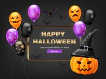 Happy Halloween card with colorful balloons Vector. Dark color backgrounds. Happy Halloween card with colorful balloons Vector. Dark color background vector illustration