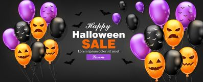 Happy Halloween card with colorful balloons Vector. Dark color backgrounds. Happy Halloween card with colorful balloons Vector. Dark color background stock illustration