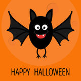 Happy Halloween card. Cute cartoon bat flying. Big moon. Animal character. Baby illustration collection. Flat design. Orange backg Royalty Free Stock Photography