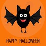 Happy Halloween card. Cute cartoon bat flying. Big moon. Animal character. Baby illustration collection. Flat design. Orange backg Royalty Free Stock Photography
