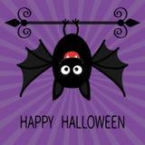 Happy Halloween card. Cute cartoon hanging bat. Animal character Royalty Free Stock Images