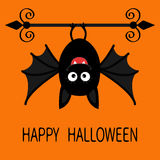 Happy Halloween card. Cute cartoon hanging bat. Animal character. Baby illustration collection. Wrought iron. Flat design.  Stock Photos