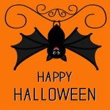 Happy Halloween card. Cute hanging bat. Cartoon character Stock Images