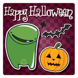 Happy Halloween card with cute monster Royalty Free Stock Photography