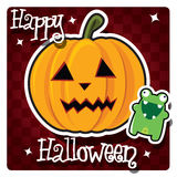 Happy Halloween card with cute monster Royalty Free Stock Photo