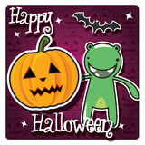 Happy Halloween card with cute monster Stock Photo