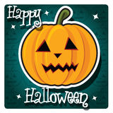 Happy Halloween card with cute pumpkin Stock Image