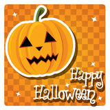 Happy Halloween card with cute pumpkin Stock Photo