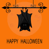 Happy Halloween card. Cute sleeping bat hanging on wrought iron. Closed wings. Royalty Free Stock Photography
