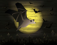 Happy halloween card with dark bat Royalty Free Stock Photos