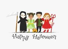 Happy Halloween Card Design, Halloween Characters Cartoon Vector. Happy Halloween card design, boys and girls wearing Halloween costumes, grim reaper, fairy stock illustration