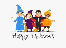 Happy Halloween Card Design, Halloween Characters Cartoon Vector. Happy Halloween card design, boys and girls wearing Halloween costumes, wizard, witch, dracula royalty free illustration