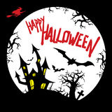 Happy Halloween card design with haunted house, graveyard, bats, dead tree, flying witch and full moon silhouette Stock Photo