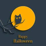 Happy Halloween Card. Design Template for Greeting Card, Banner for Halloween Party in Flat Style with Shadow Stock Images